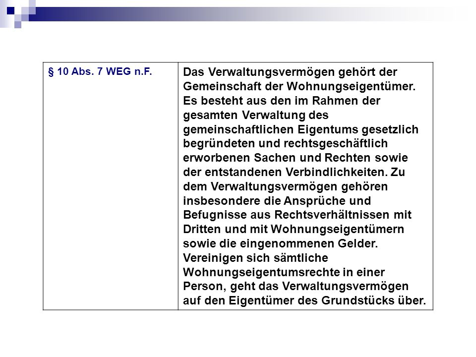§ 10 Abs. 7 WEG n.F.