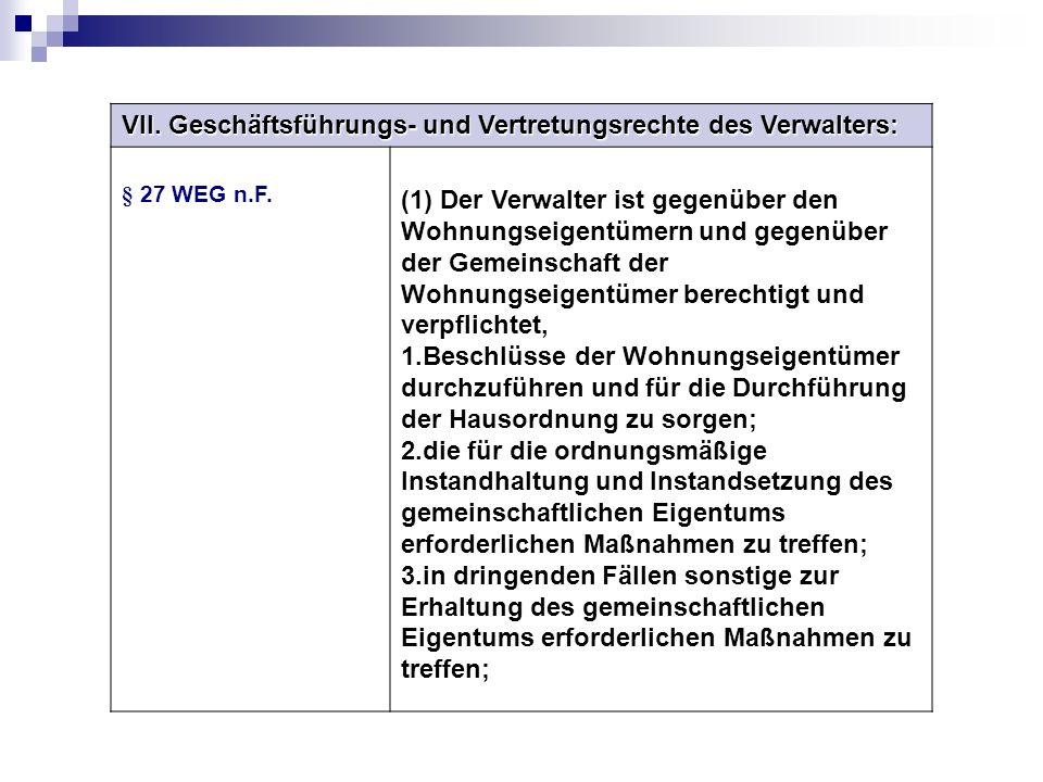 VII. Geschäftsführungs- und Vertretungsrechte des Verwalters: