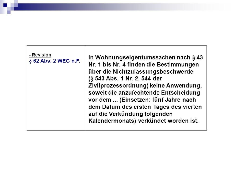 - Revision § 62 Abs. 2 WEG n.F.