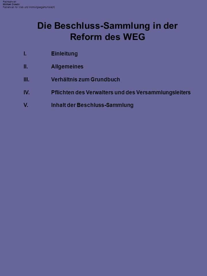 Die Beschluss-Sammlung in der Reform des WEG
