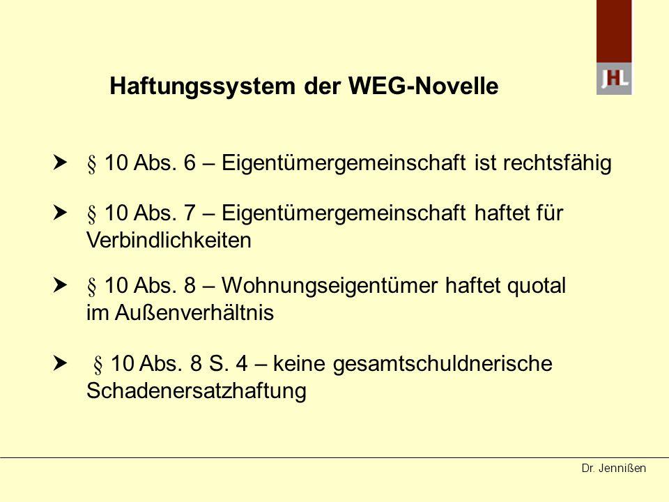 Haftungssystem der WEG-Novelle