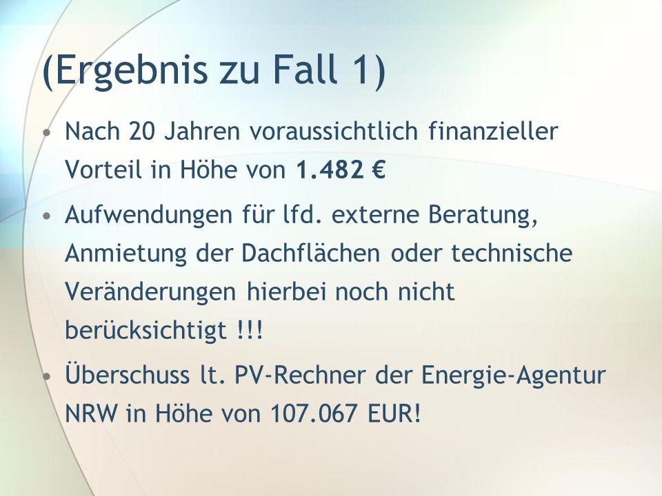 (Ergebnis zu Fall 1) Nach 20 Jahren voraussichtlich finanzieller Vorteil in Höhe von 1.482 €