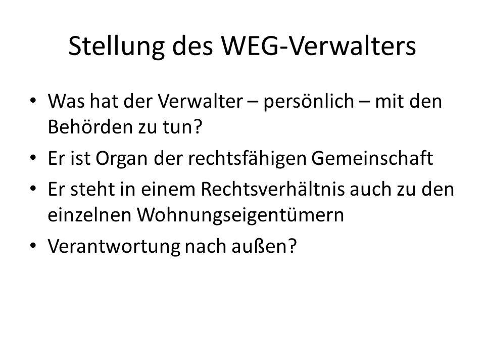 Stellung des WEG-Verwalters