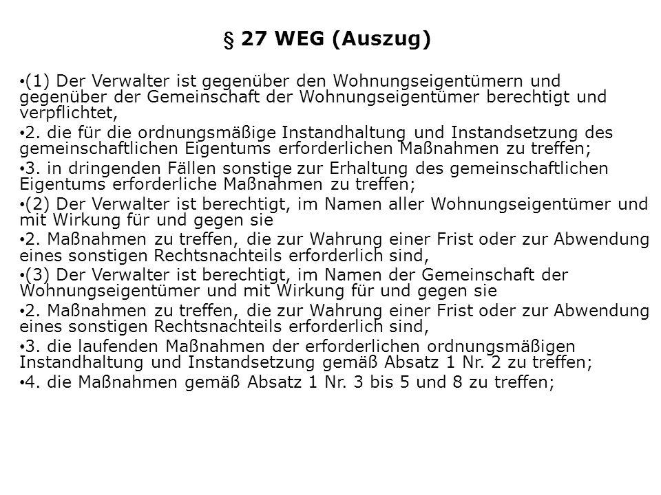 § 27 WEG (Auszug)