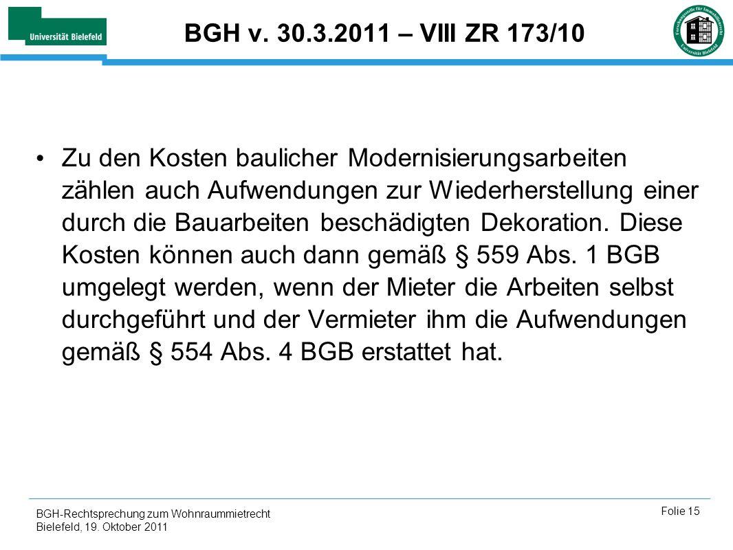 BGH v. 30.3.2011 – VIII ZR 173/10