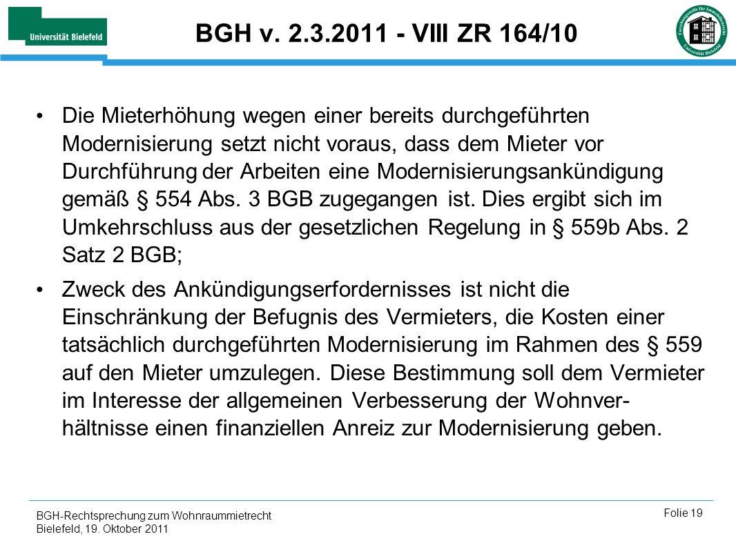 BGH v. 2.3.2011 - VIII ZR 164/10