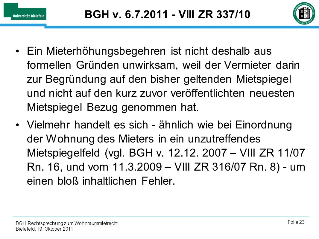 BGH v. 6.7.2011 - VIII ZR 337/10