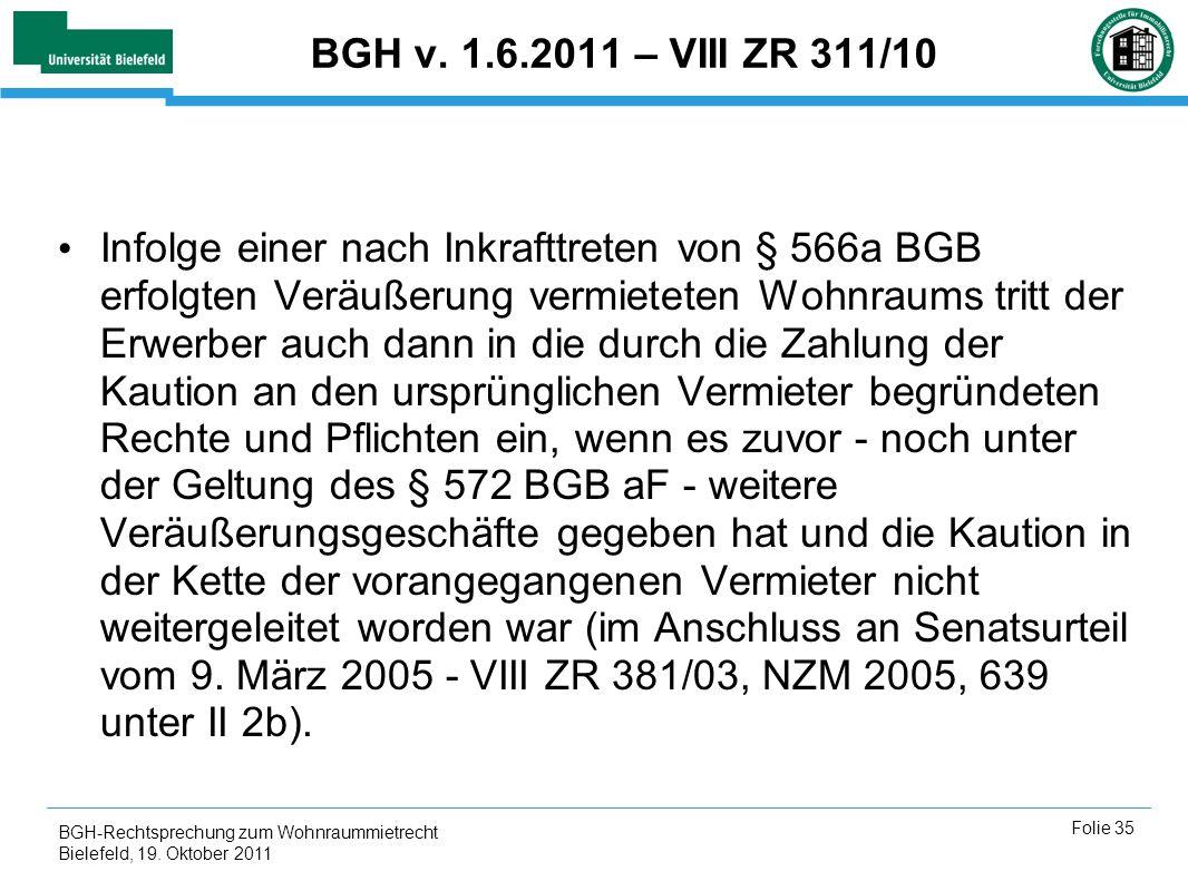 BGH v. 1.6.2011 – VIII ZR 311/10