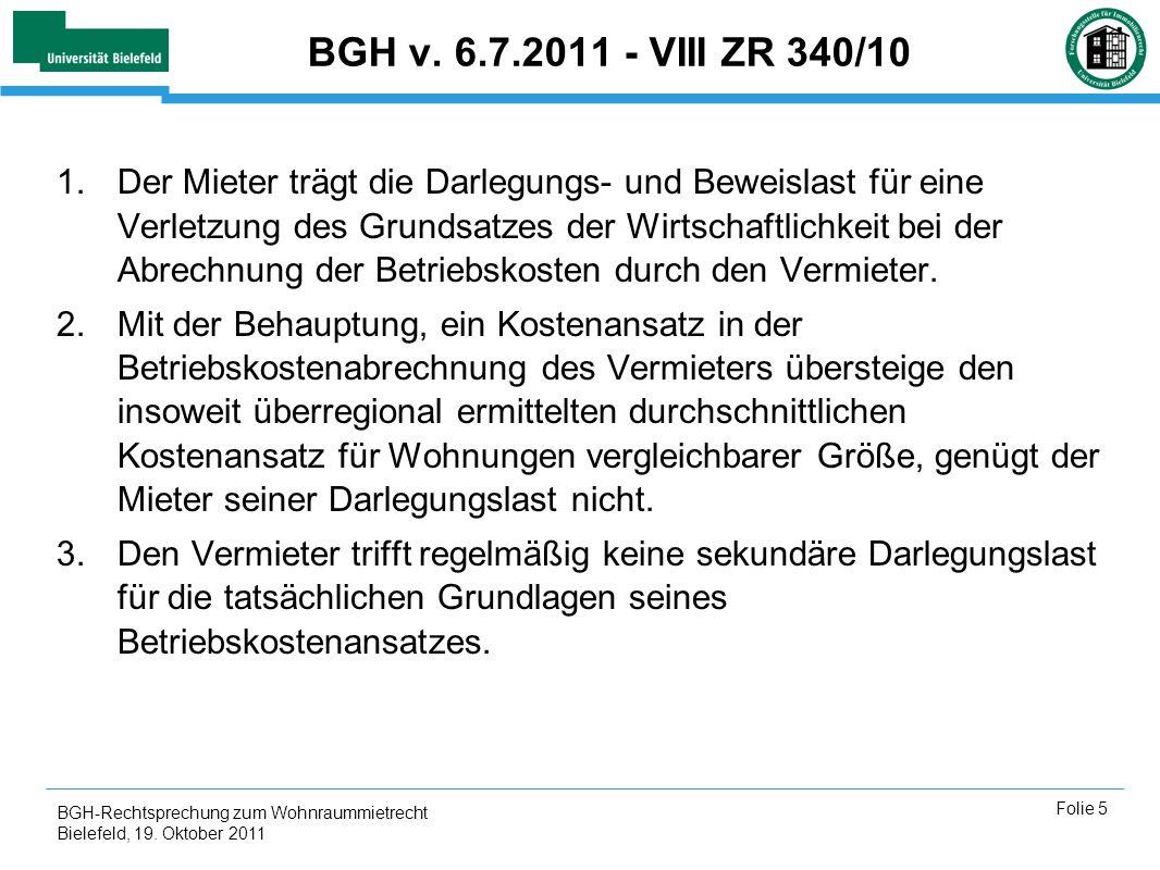 BGH v. 6.7.2011 - VIII ZR 340/10