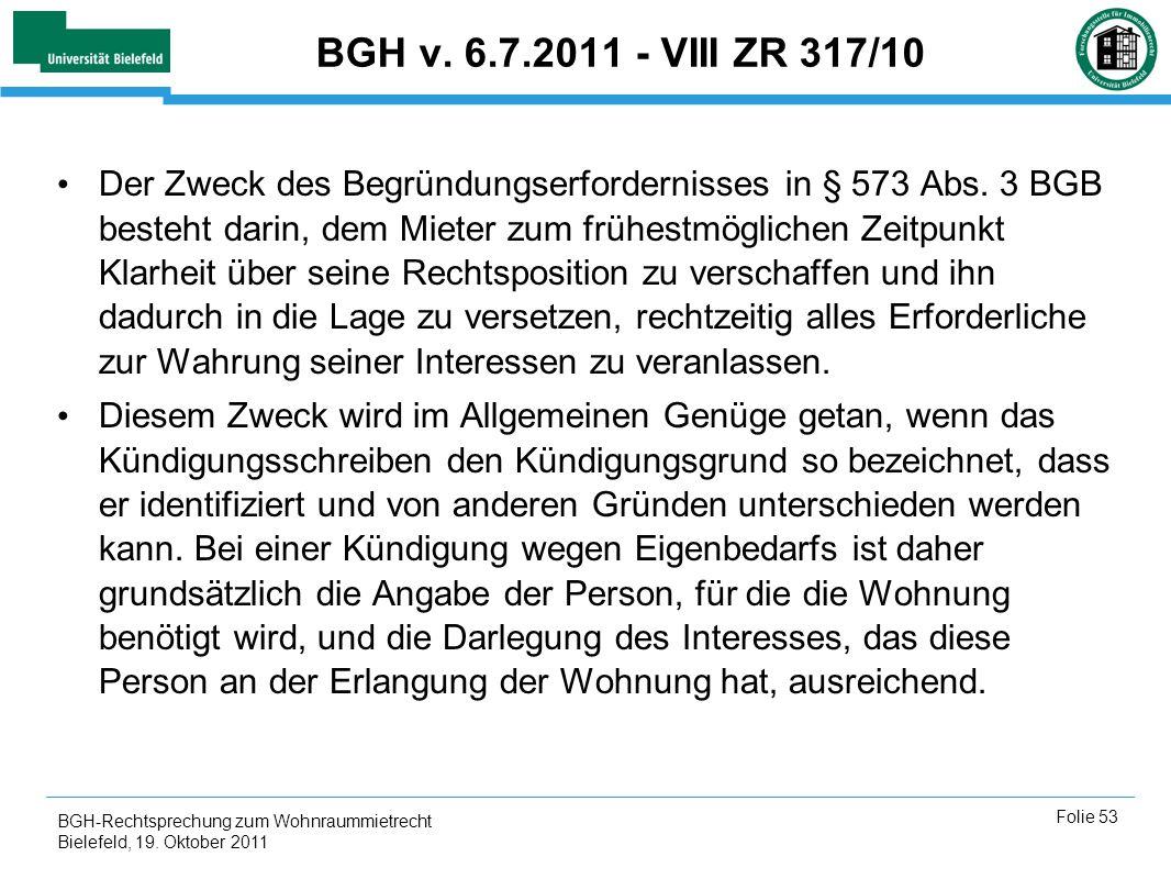 BGH v. 6.7.2011 - VIII ZR 317/10
