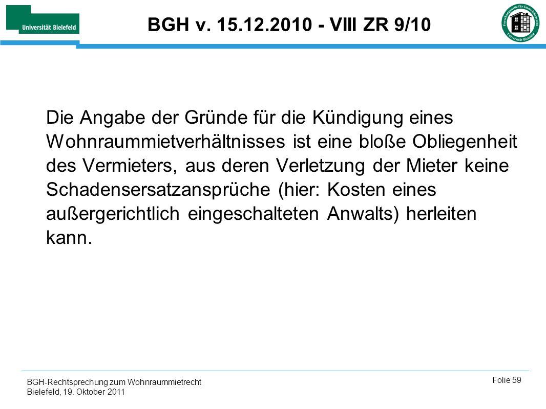 BGH v. 15.12.2010 - VIII ZR 9/10