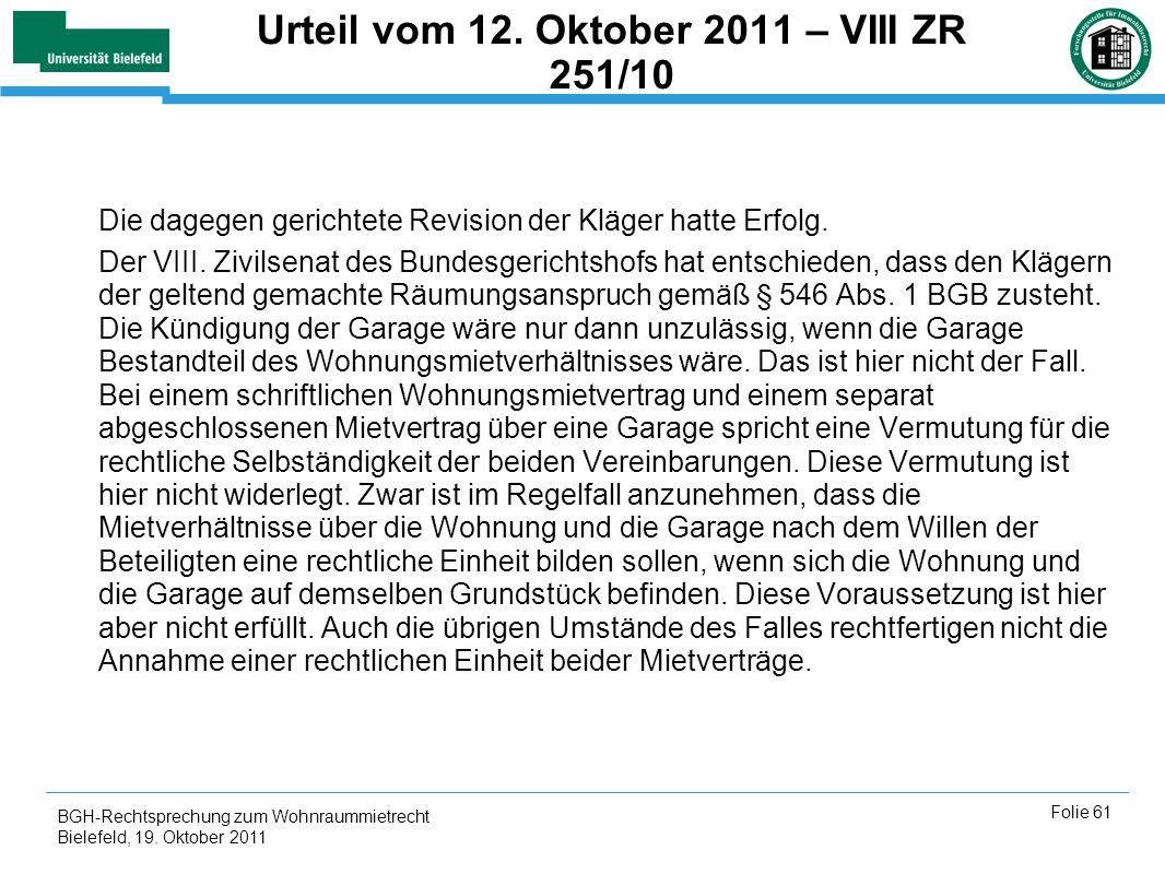 Urteil vom 12. Oktober 2011 – VIII ZR 251/10