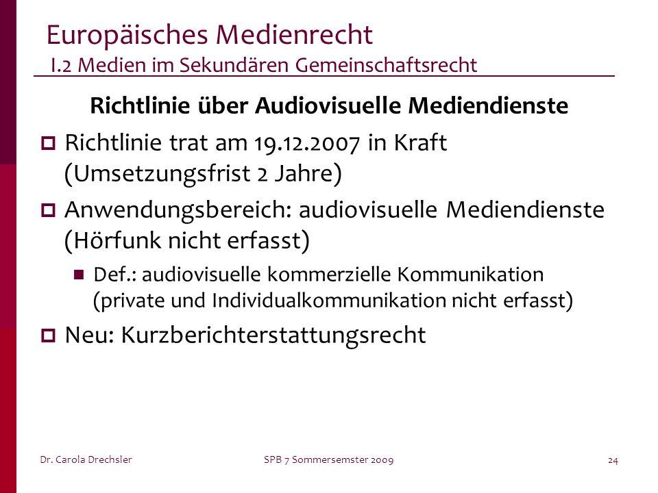 Europäisches Medienrecht I.2 Medien im Sekundären Gemeinschaftsrecht