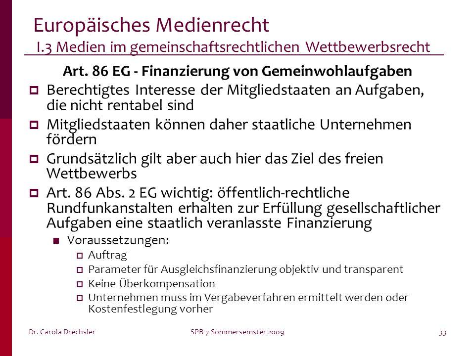 Art. 86 EG - Finanzierung von Gemeinwohlaufgaben