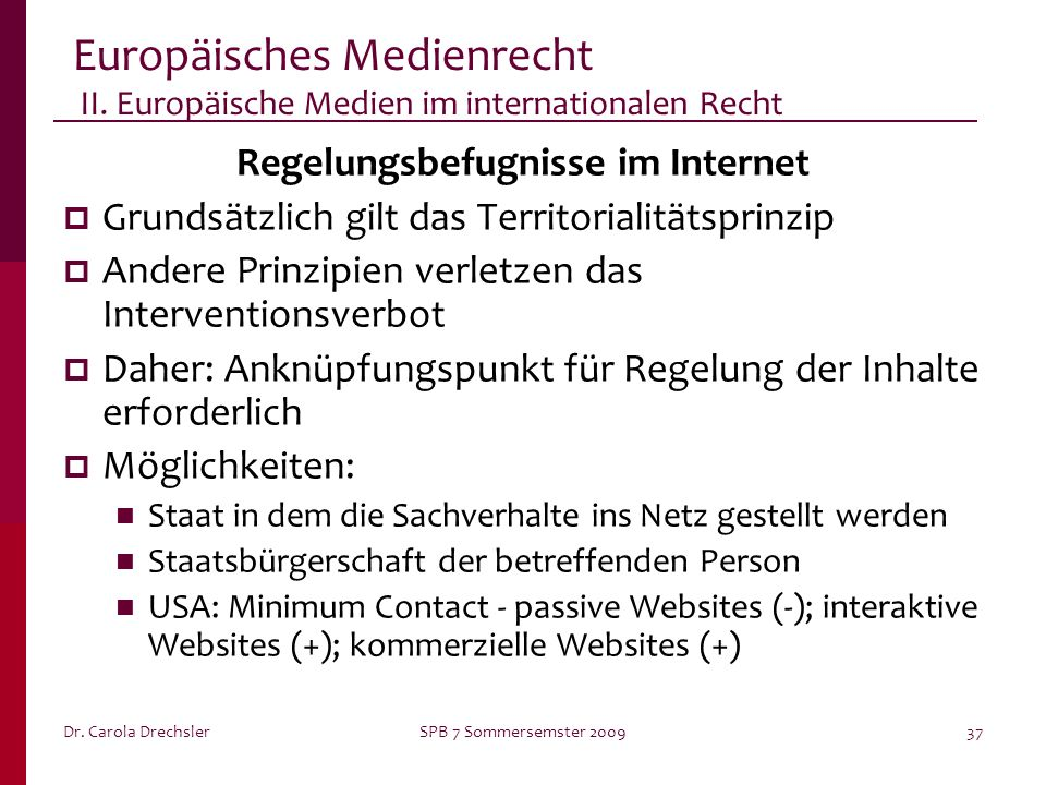 Regelungsbefugnisse im Internet