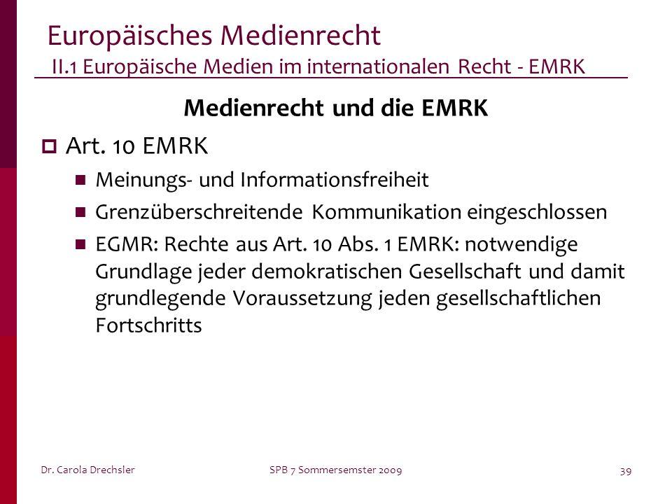Medienrecht und die EMRK