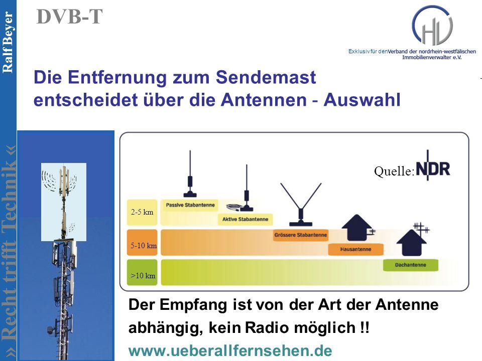 Die Entfernung zum Sendemast entscheidet über die Antennen - Auswahl