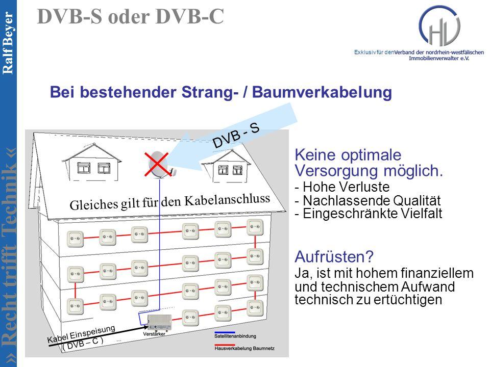 DVB-S oder DVB-C Bei bestehender Strang- / Baumverkabelung