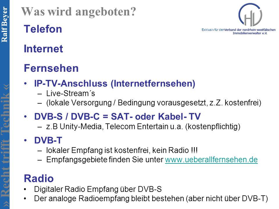 Was wird angeboten Telefon Internet Fernsehen Radio