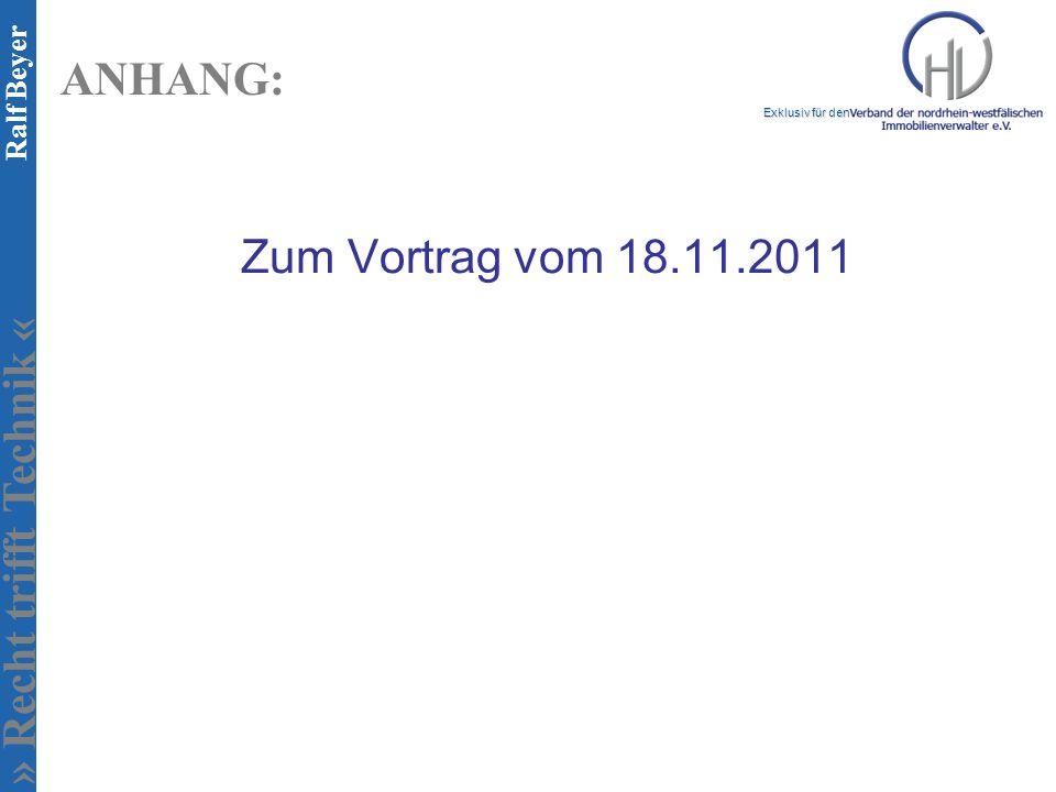 ANHANG: Zum Vortrag vom 18.11.2011