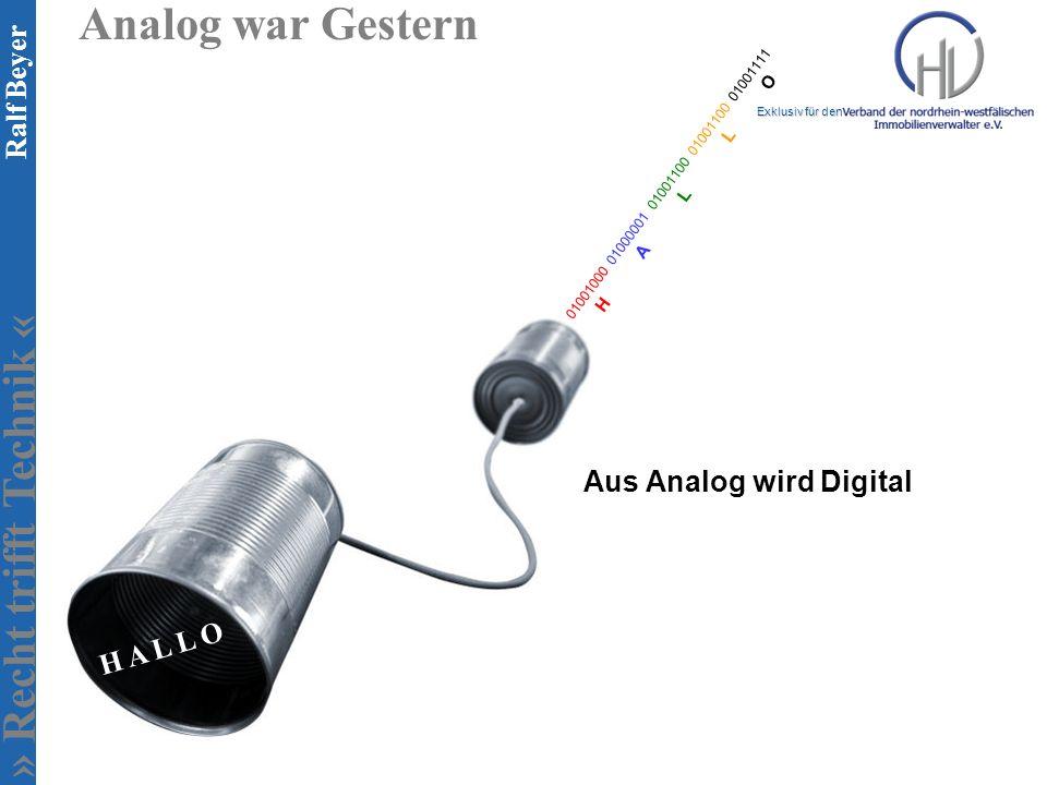Analog war Gestern Aus Analog wird Digital H A L L O
