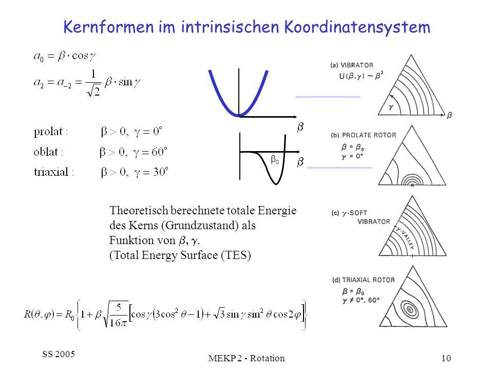 Kernformen im intrinsischen Koordinatensystem