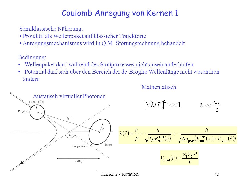 Coulomb Anregung von Kernen 1
