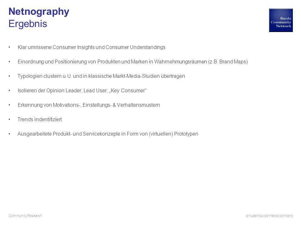 Netnography Ergebnis Klar umrissene Consumer Insights und Consumer Understandings.