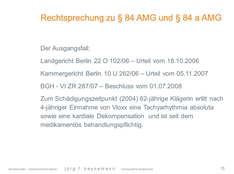 Rechtsprechung zu § 84 AMG und § 84 a AMG
