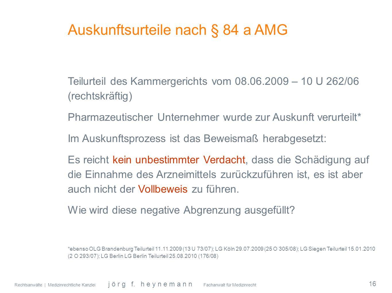 Auskunftsurteile nach § 84 a AMG