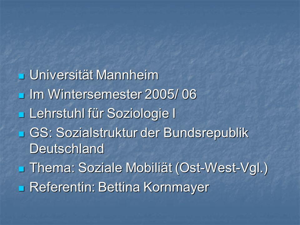 Universität Mannheim Im Wintersemester 2005/ 06. Lehrstuhl für Soziologie I. GS: Sozialstruktur der Bundsrepublik Deutschland.