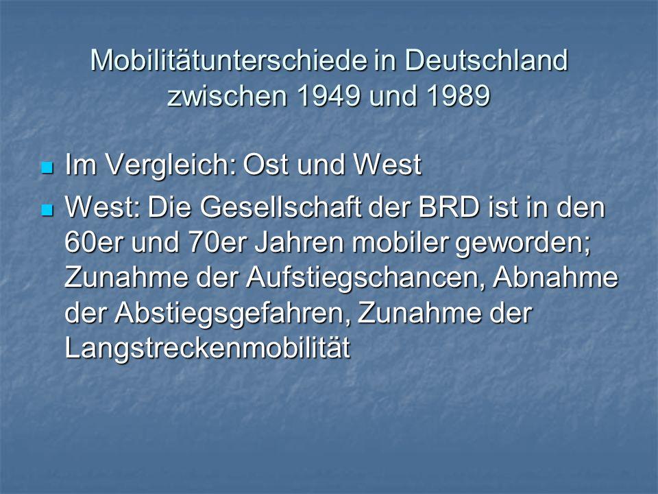 Mobilitätunterschiede in Deutschland zwischen 1949 und 1989