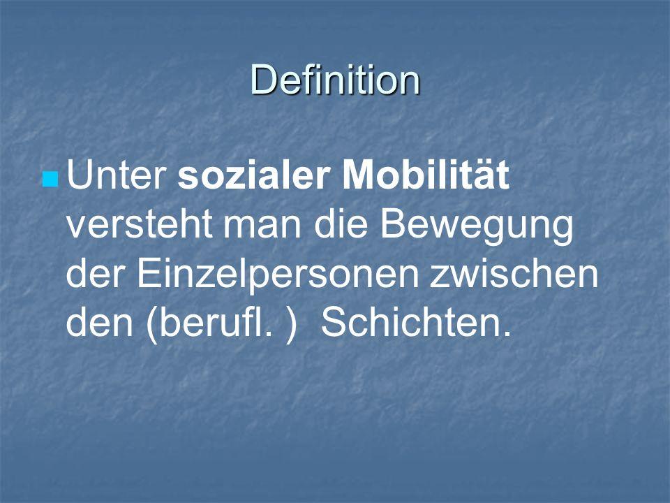 Definition Unter sozialer Mobilität versteht man die Bewegung der Einzelpersonen zwischen den (berufl.
