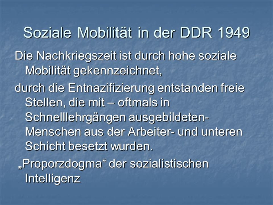 Soziale Mobilität in der DDR 1949