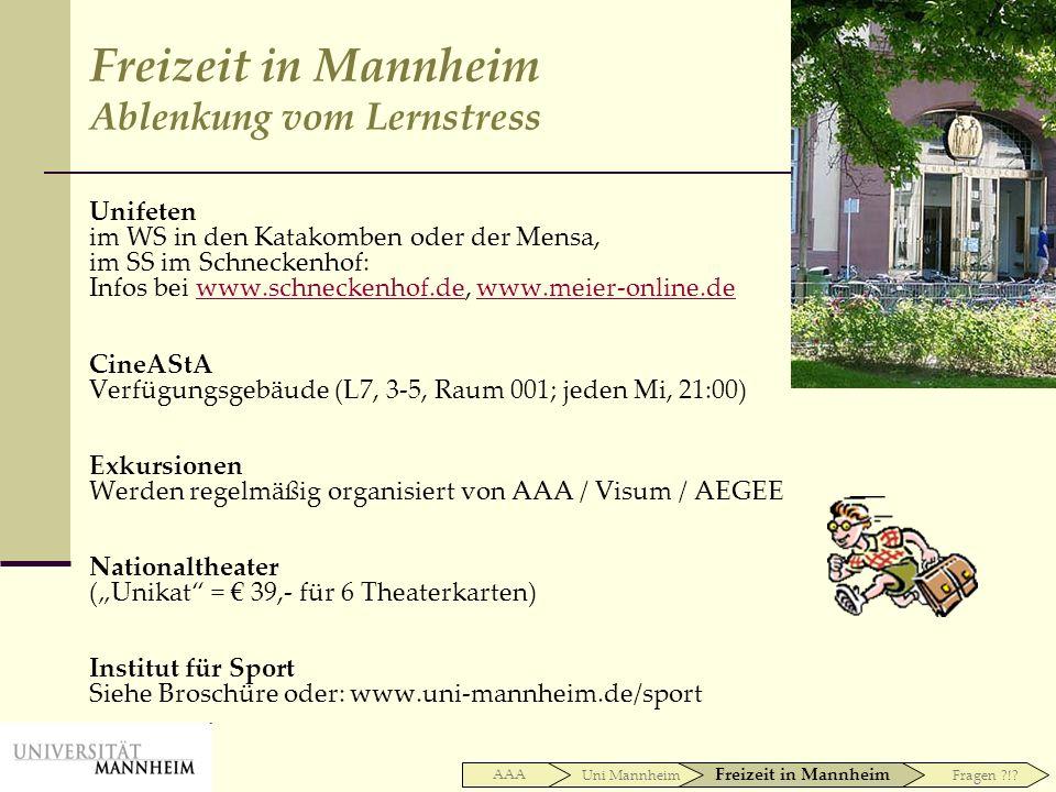 Freizeit in Mannheim Ablenkung vom Lernstress