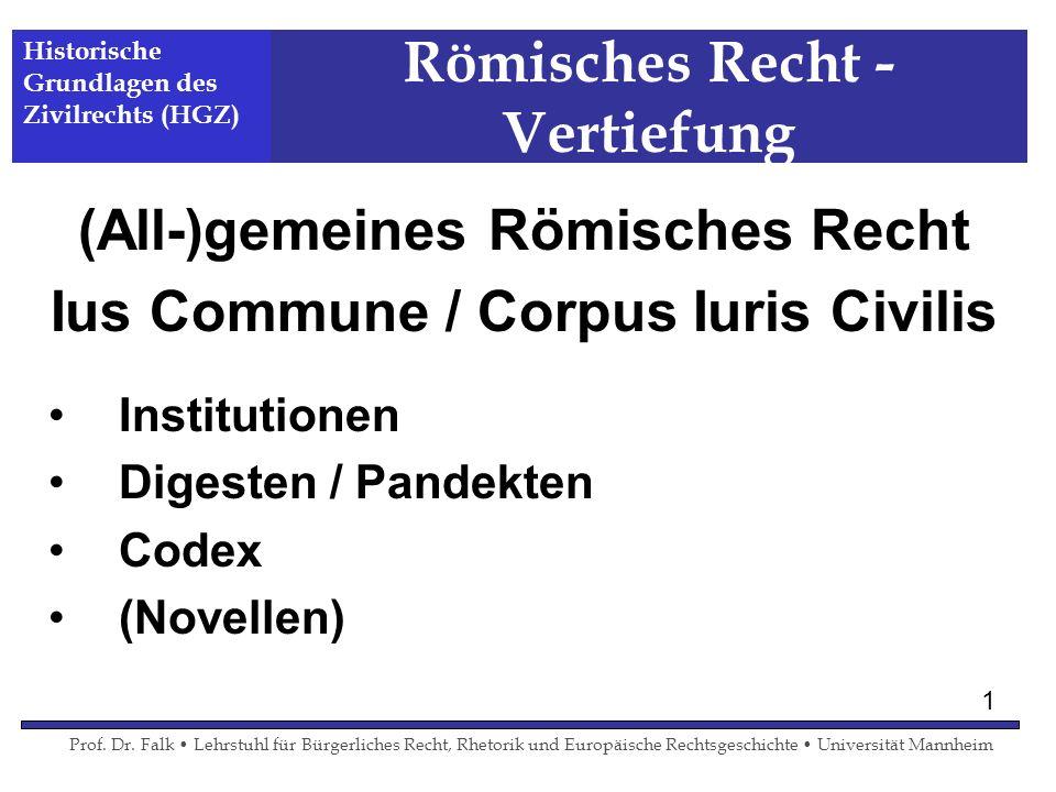 Römisches Recht - Vertiefung