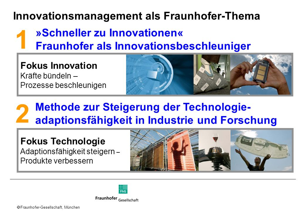 1 2 Innovationsmanagement als Fraunhofer-Thema