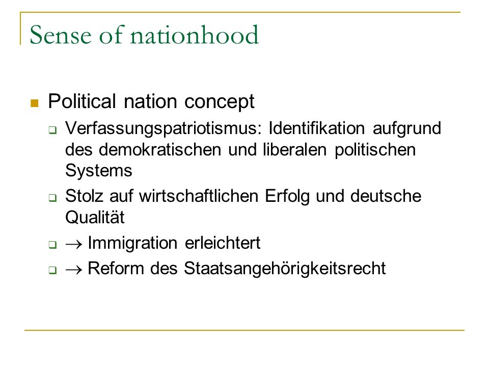 Sense of nationhood Political nation concept