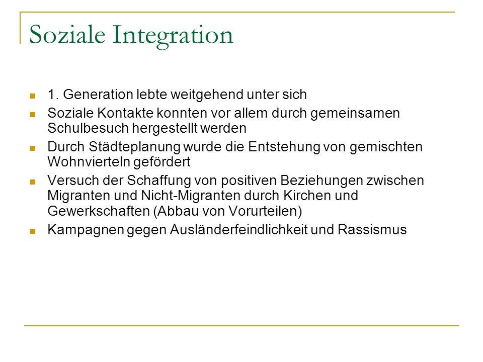 Soziale Integration 1. Generation lebte weitgehend unter sich
