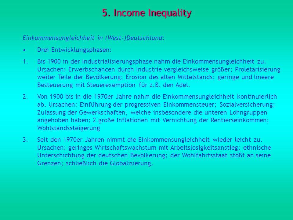 5. Income Inequality Einkommensungleichheit in (West-)Deutschland: