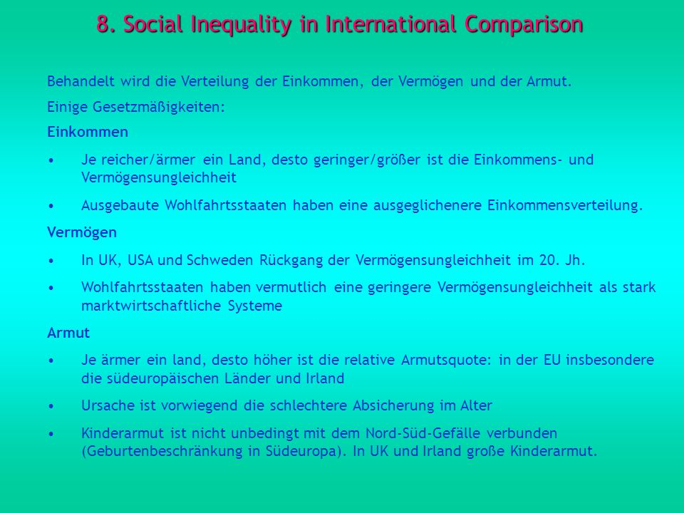 8. Social Inequality in International Comparison