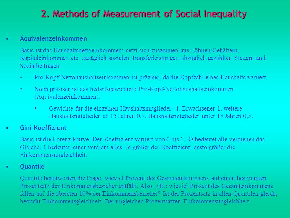 2. Methods of Measurement of Social Inequality
