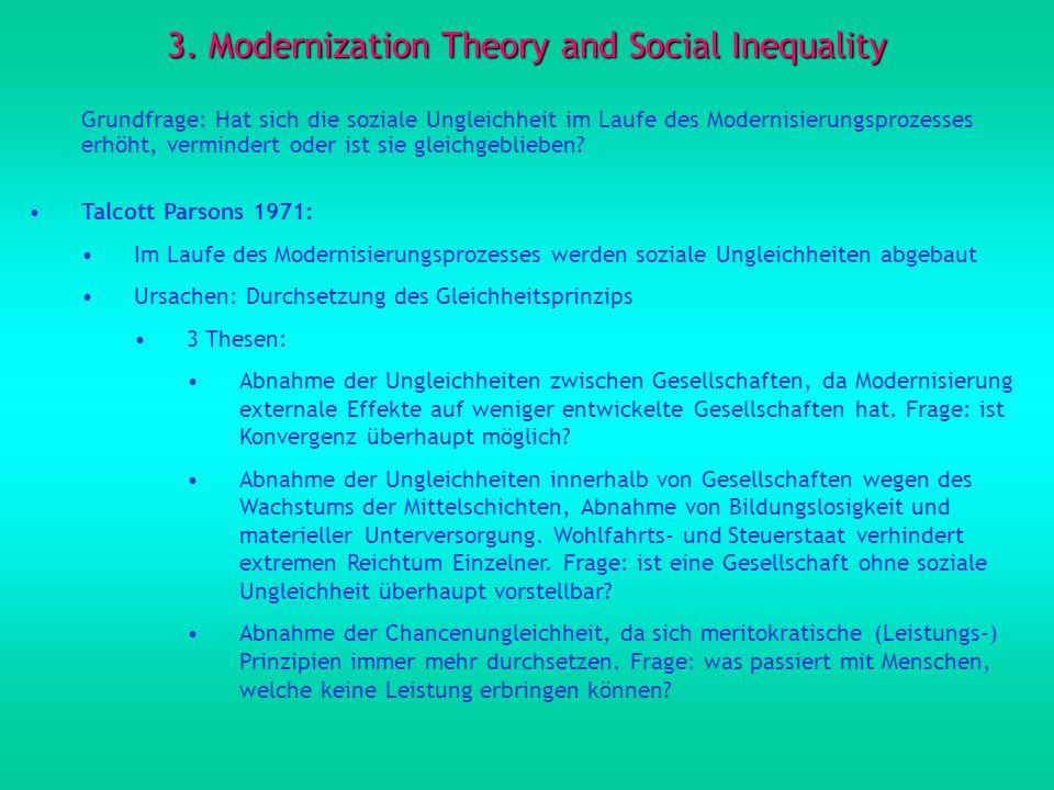 3. Modernization Theory and Social Inequality