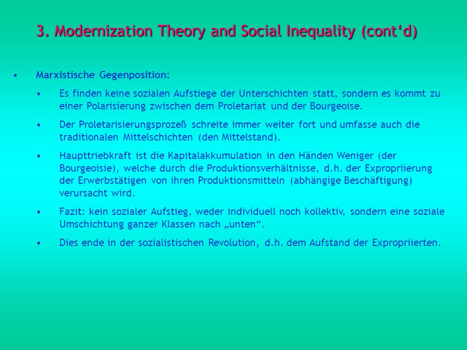 3. Modernization Theory and Social Inequality (cont'd)