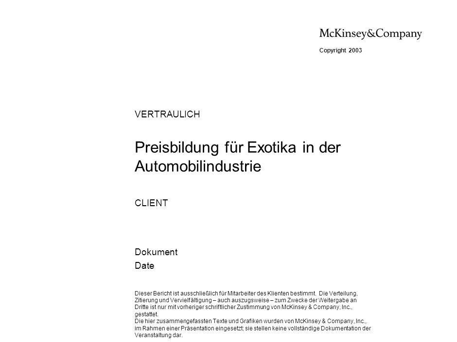 Preisbildung für Exotika in der Automobilindustrie