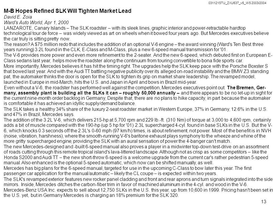 M-B Hopes Refined SLK Will Tighten Market Lead