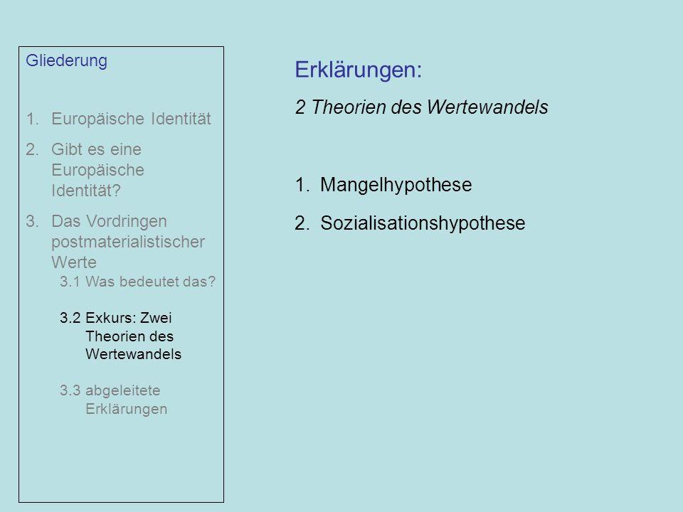 Erklärungen: 2 Theorien des Wertewandels Mangelhypothese