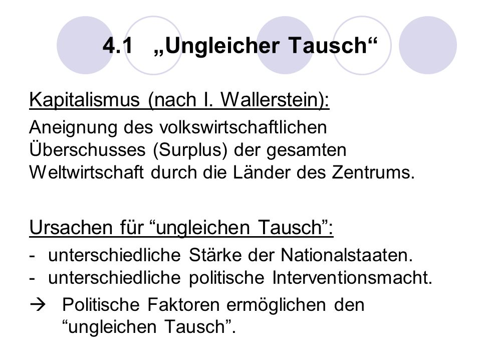 """4.1 """"Ungleicher Tausch Kapitalismus (nach I. Wallerstein):"""