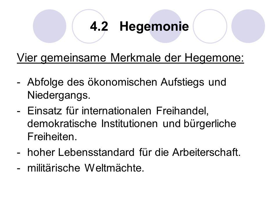 4.2 Hegemonie Vier gemeinsame Merkmale der Hegemone:
