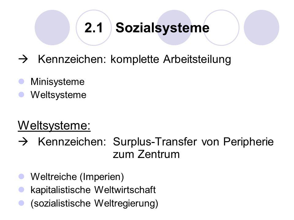 2.1 Sozialsysteme Weltsysteme:  Kennzeichen: komplette Arbeitsteilung